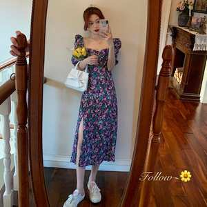 Retro-Dresses Puff-Sleeve Floral-Print French Romance Ruffles Women Casual Lady Square