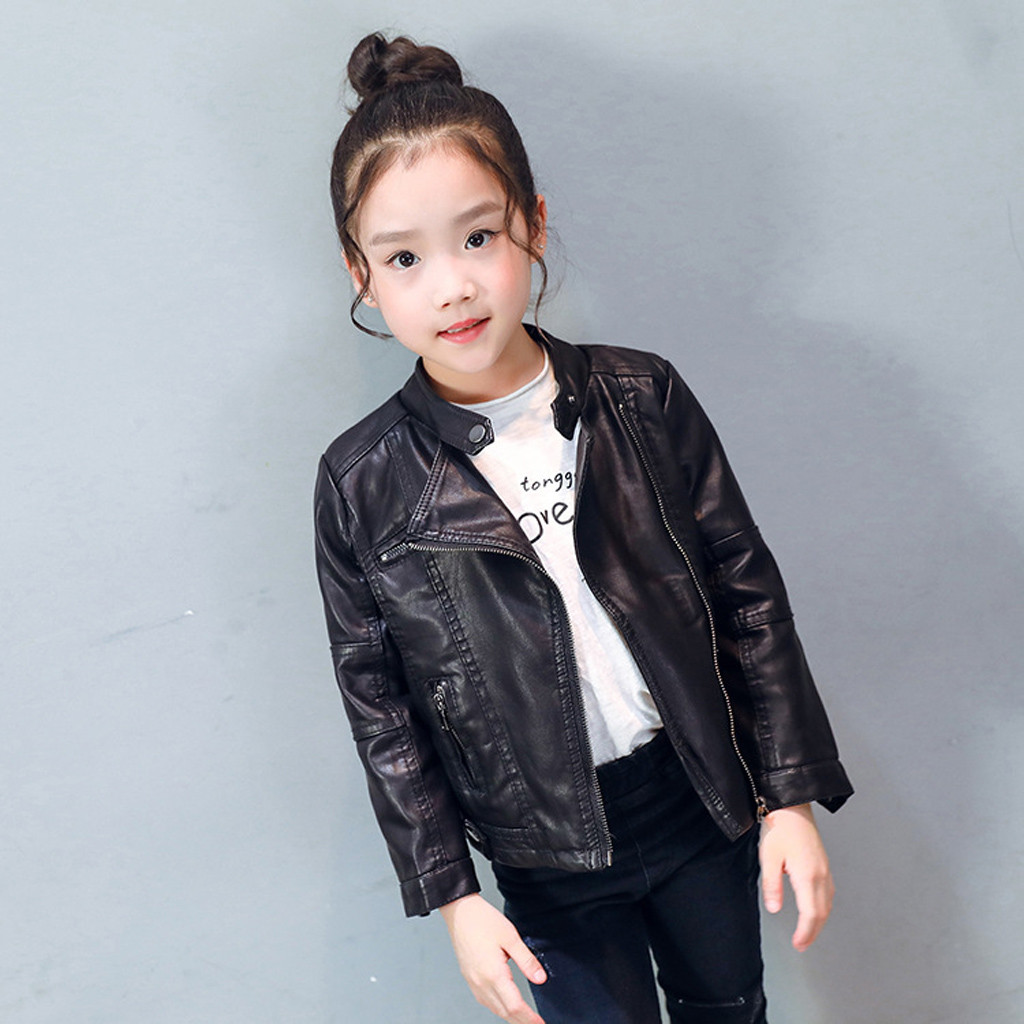 Children Girls Coats And Jackets Boys Leather Casual Turn-down Collar Jacket