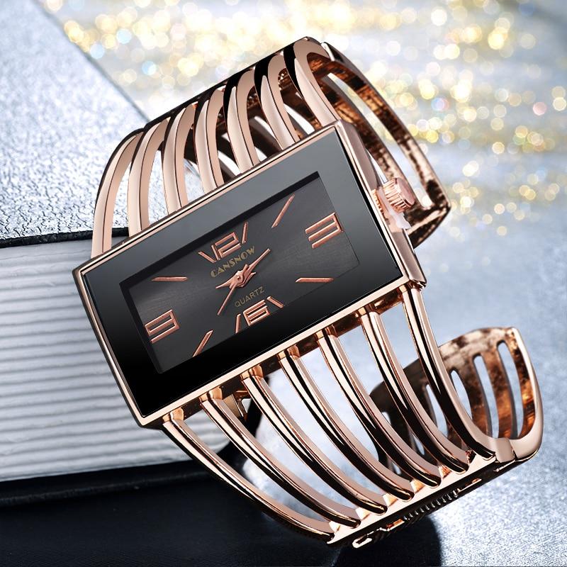 Bracelet Watch CANSNOW Bangle Clock Female Women Dress Rose-Gold Luxury Fashion Lady