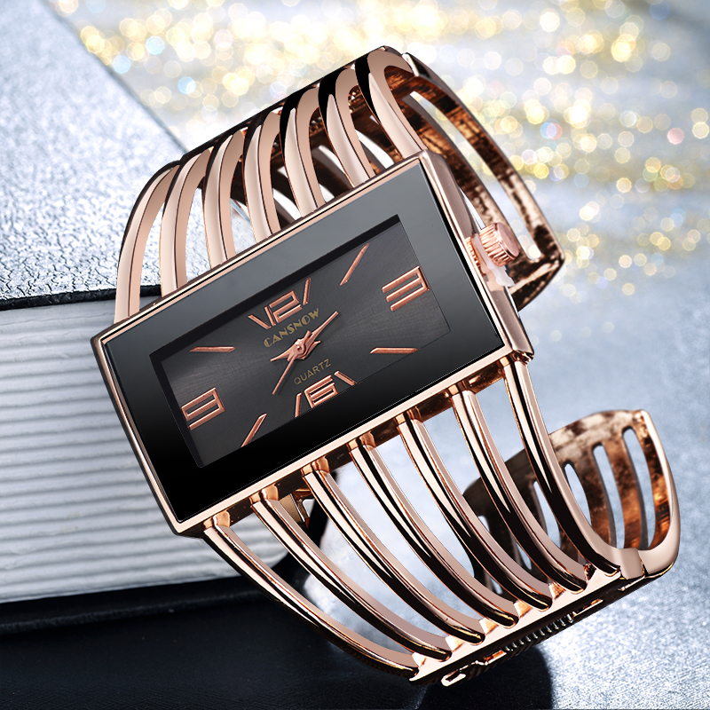 CANSNOW Womens Watch Luxury Fashion Rose Gold Bangle Bracelet Watch Women Dress Clock Female Lady Saati Girls Wristwatch Relojes