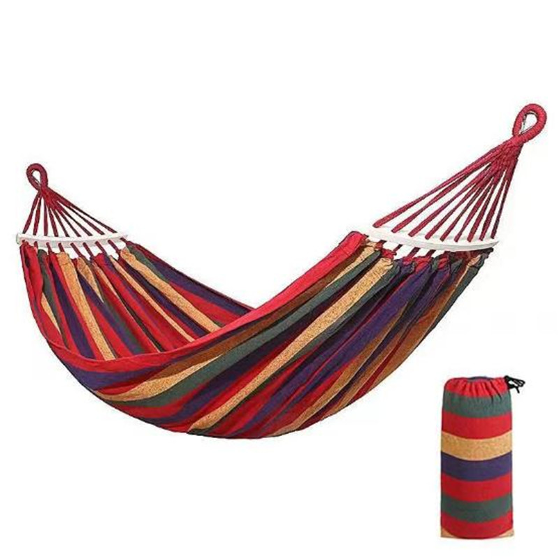 Hot Sale Double Wide Thick Canvas Hammock Portable Hammock Outdoor Outdoor Camping Garden Swing Hanging Chair Hangmat Blue Red