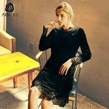 L ~ 4XL 5XL סקסי שחור תחרה תפרים קטיפה שמלה בתוספת גודל נשים Velour Slim שמלה ארוך שרוול מסיבת בגדים AOFULI A4083