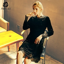 L ~ 4XL 5XL مثير الدانتيل الأسود خياطة المخملية فستان حجم كبير النساء القطيفة ضئيلة فستان طويل الأكمام ملابس الحفلات AOFULI A4083