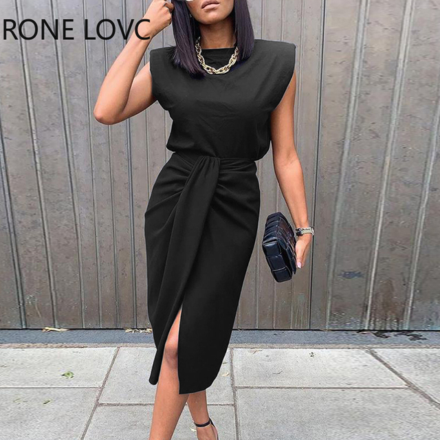 Women Sold Sleeveless Top & Slit Twisted Midi Skirt Set Elegant Fashion Chic Dress 1