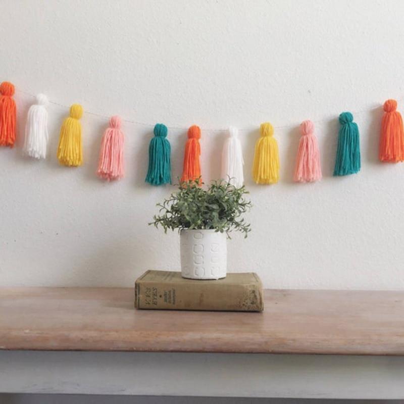 INS Nordic ขนสัตว์พู่ Garlands String ผนัง Handmade แขวนเครื่องประดับตกแต่งห้องเด็ก Baby Shower PARTY Photo Props
