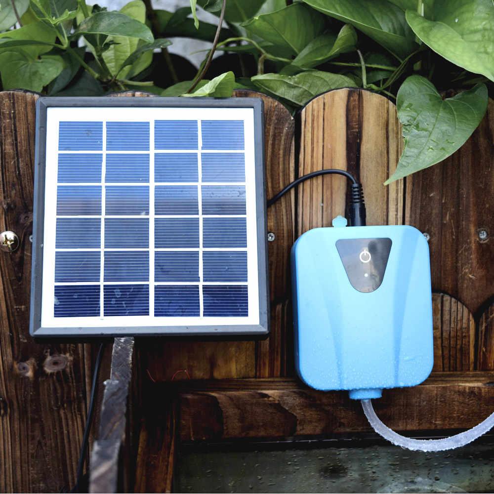 Nishore USB 5V Bomba de Ox/ígeno del Solar de Aireaci/ón de Doble Uso AC DC Tanque de Peces Solar Bomba de Aire Utra Silenciosa Aerador del Acuario con 1 Difusor de Aire Acuario Bomba de Aire