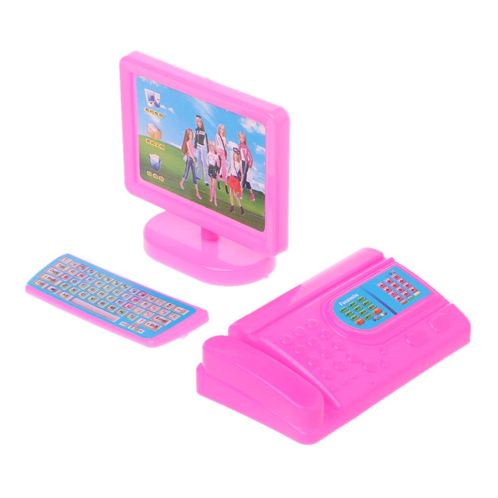 Dollhouse Miniature Modern Computer Furniture Pink for Barbie Size Doll Gift
