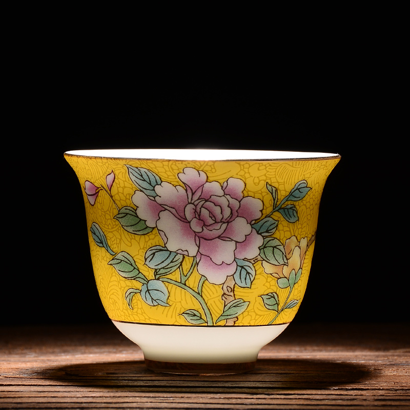 XING KILO Jingdezhen Ceramic Tea Set Tea Bowl Pastel Silk Flower Hand-painted Master Cup Kung Fu Tea Coffee Cup