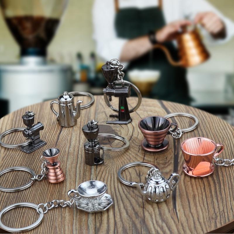 New Arrival Bar Cute Coffee Appliance Key Chain Mini Coffee Making Utensil Key Chain Classical Pattern Holder For Girl Friend