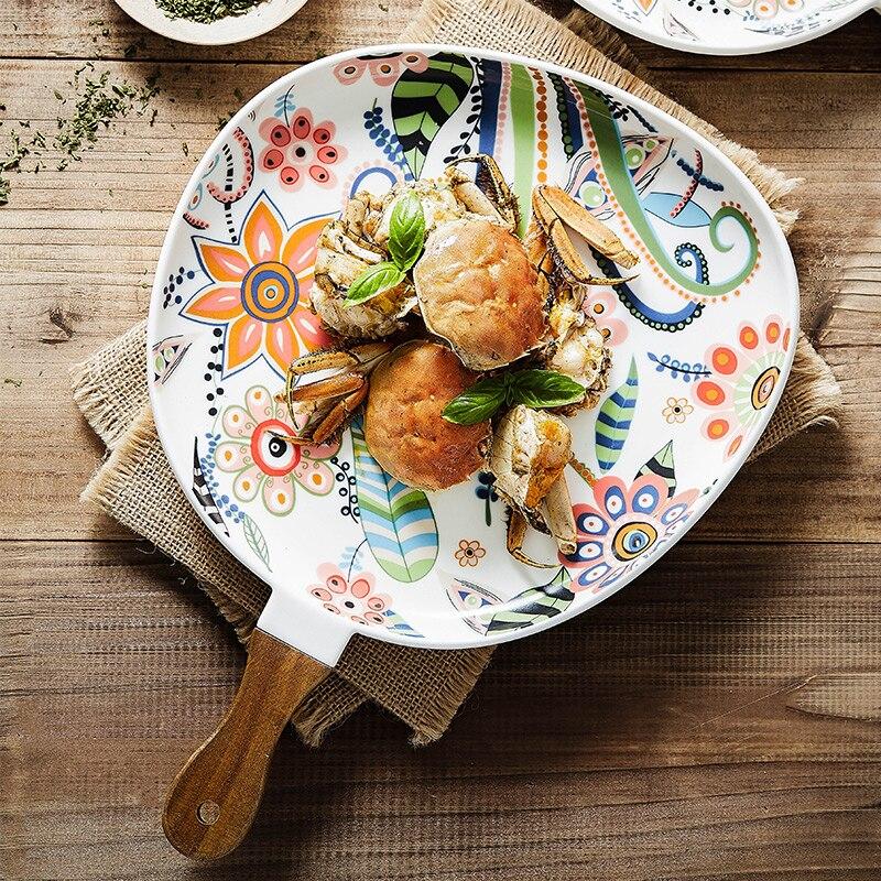 Assiette en céramique Steak de Style nordique | Vaisselle en céramique de Style nordique créatif salade de Style occidental assiette de table en céramique, assiette ménagère poignée plat de cuisson