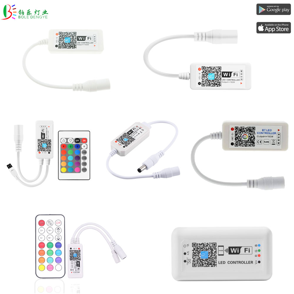 DC5-24V LED WIFI RGB RGBW Controller Work With Alexa Google home Music Sync Bluetooth LED Strip Smart Controller RF IR Remote image