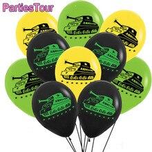 15 шт. 12 дюймов/черный/зеленый/желтый/воздушный шар в виде танка воздуха латексная двухсторонняя клипсы для воздушных шаров в стиле милитари ...