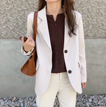 New suits Female Vintage Autumn Office Ladies Notched Collar BLACK Women Blazer Breasted Jacket Casual Pockets Female Suits Coat 1