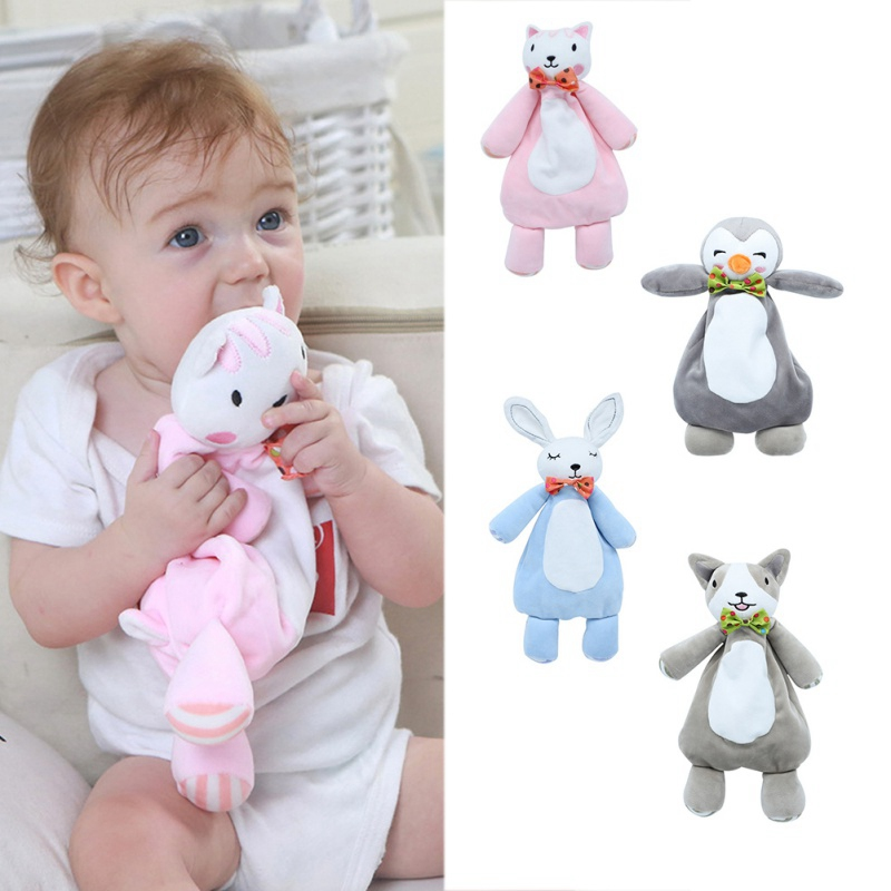 Newborn Baby Cute Soft Plush Sleep Towel Kids Comfort Appease Bibs Animal Rabbit Dolls Toys Plush Soft Security Blanket Toy