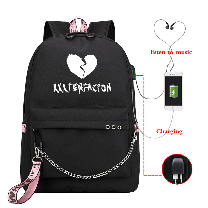 Mochila XXXTentacion Backpack Travel Backpack Laptop Backpack Men Women Backpacks Usb Charge School Bookbags For Teenage Girls