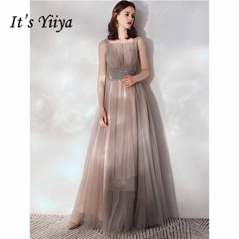 It's Yiiya Evening Dress 2019 Elegant Sleeveless Spaghetti Strap Party Long Dresses Crystal Illusion A-Line Formal Gowns E1087