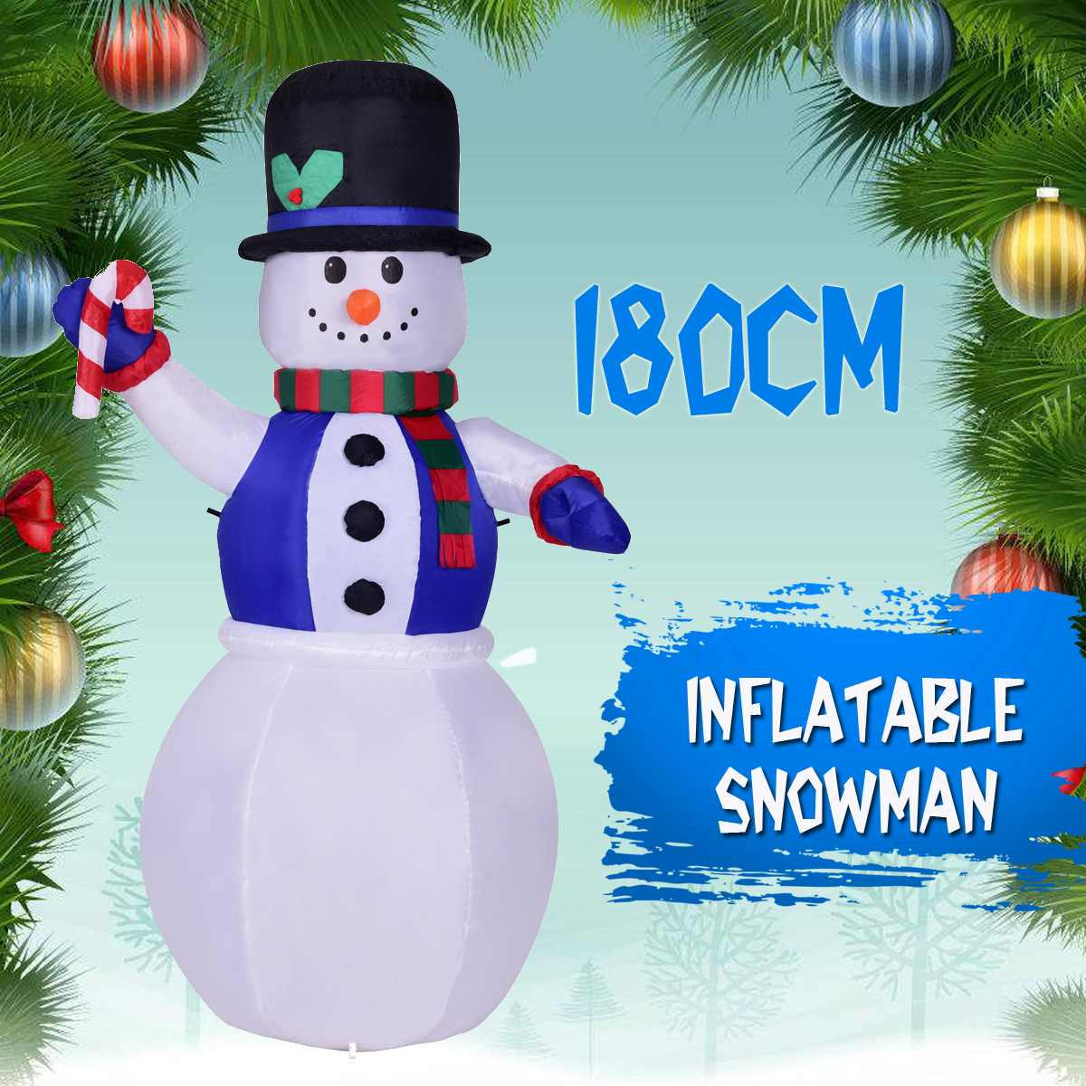 1.8m Christmas LED Inflatable Model Snowman Doll Broom Cover Christmas Decoration Dressing Supplies+Fan