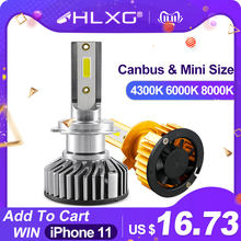 HLXG 2Pcs Car Headlight Bulbs h7 led h4 h1 h11 h8 hb3 hb4 CANBUS no error Turbo led 80W 12000lm 4300K 6000K Auto lamp(China)