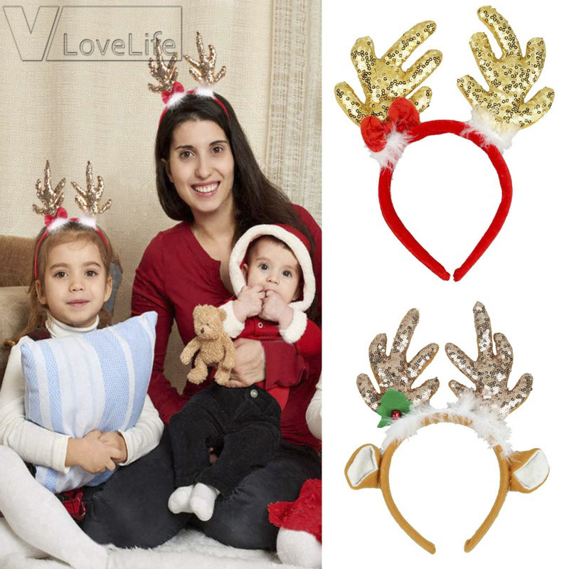 Fashion Christmas Adult Children Funny Antlers Hairband Festival Sequin Headband
