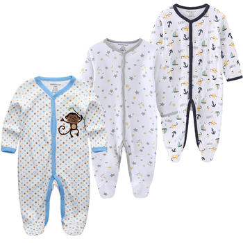 0-12Months Baby Rompers Newborn Girls&Boys 100%Cotton Clothes of Long Sheeve 1/2/3Piece Infant Clothing Pajamas Overalls Cheap - baby romper17, 6M