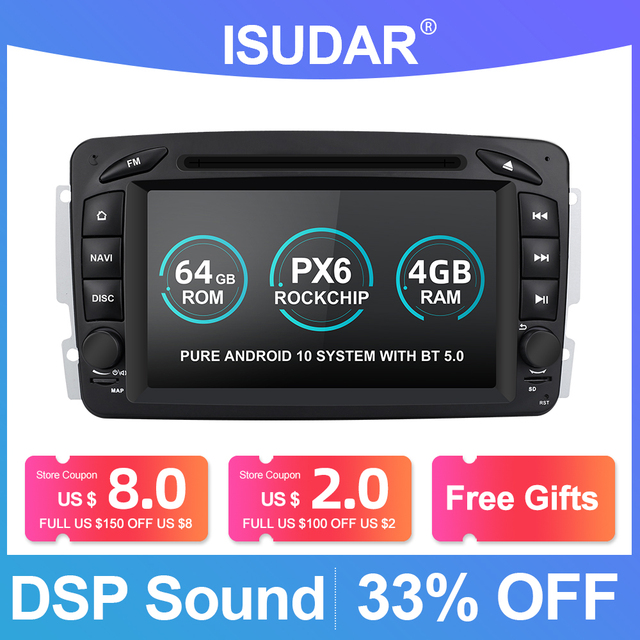 Isudar PX6 2 Din Android 10 Car Multimedia player GPS For Mercedes/Benz/CLK/W209/W203/W208/W463/Vaneo/Viano/Vito Auto radio DVR