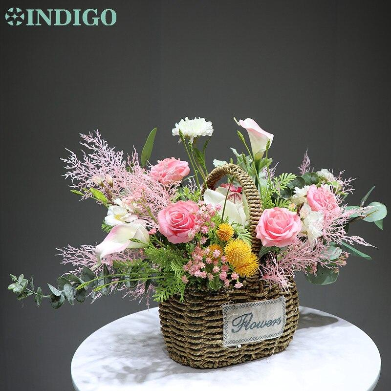 IINDIGO conçu-Rose Rose fleur panier fleur Arrangement cadeau Bouquet fleur artificielle fête événement livraison gratuite