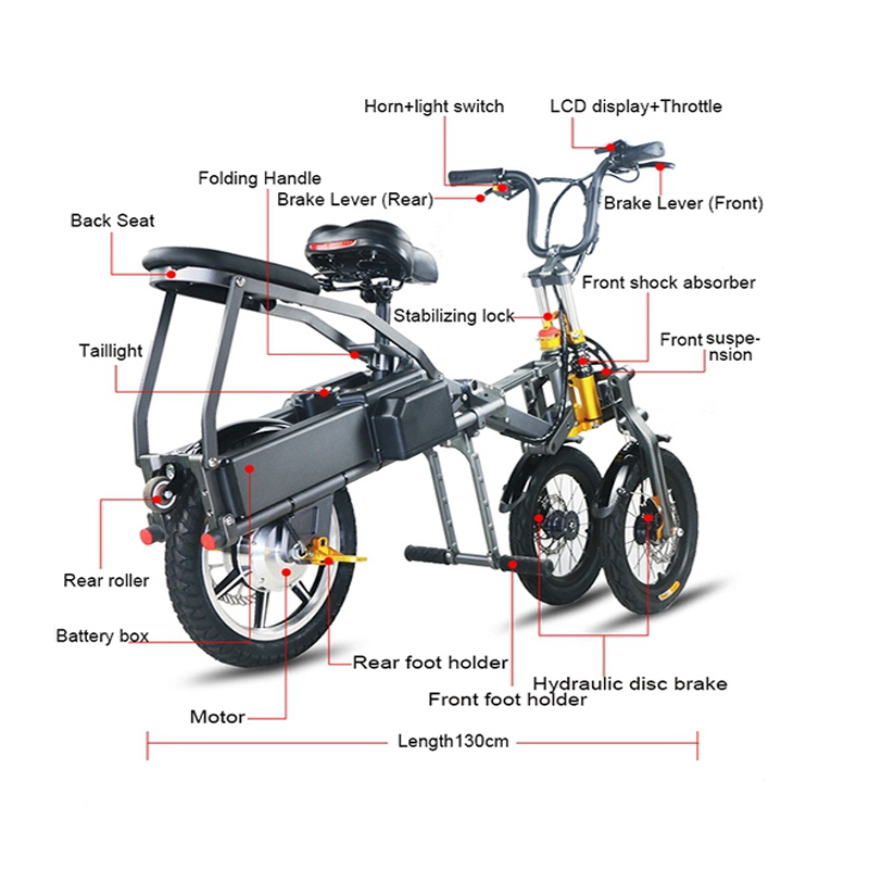 JX003 High Speed 14 Inch Folding Electric Scooter High-end 350W Electric Tricycle with Lithium Battery 2