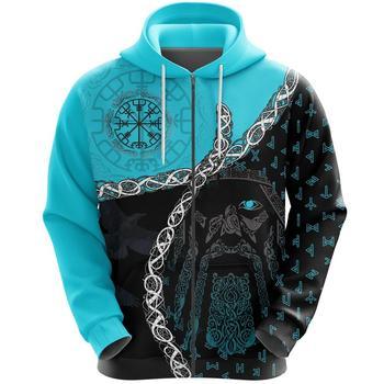 Viking hoodies Odin Norse Helm of Awe 3D Printed Men women Zip Up Hoodie Tattoo Harajuku Streetwear Pullover Casual Tracksuits 1