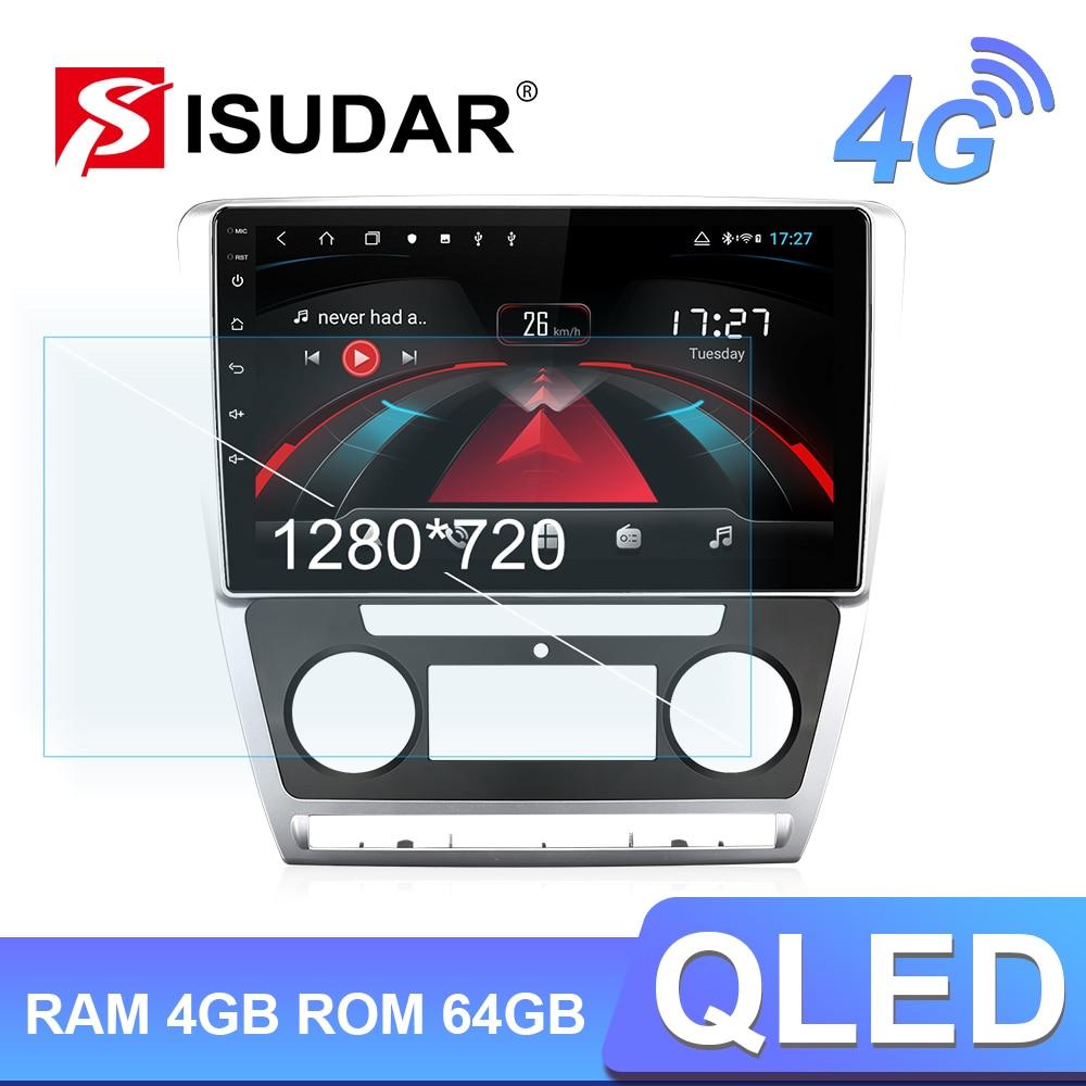 Isudar h53 1 din 4g android rádio automático para skoda octavia 2009 2010 2011 2012 2013 multimídia carro gps octa núcleo ram 4gb rom 64gb