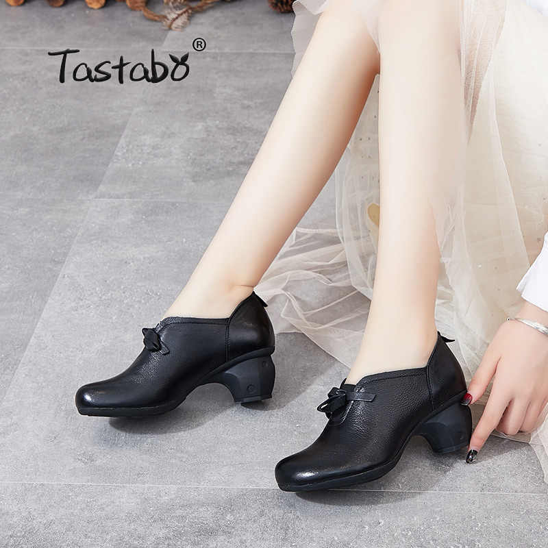 Tastabo manuel Hakiki Deri yüksek topuk kadın çizmeler Siyah kahverengi Konfor tarzı S90836 Günlük kadın ayakkabısı Nefes astarı