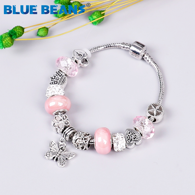 2020 Bracelets For Women Jewelry Beads Bracelet Charms Chakra Bracelet Love Girls Bracelet Stainless Steel Butterfly Boho Punk