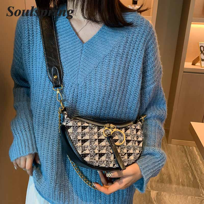 Pattern Leather Crossbody Bags For Women 2019 Fashion Small Solid Colors Shoulder Bag Female Handbags And Purses Waist Packs