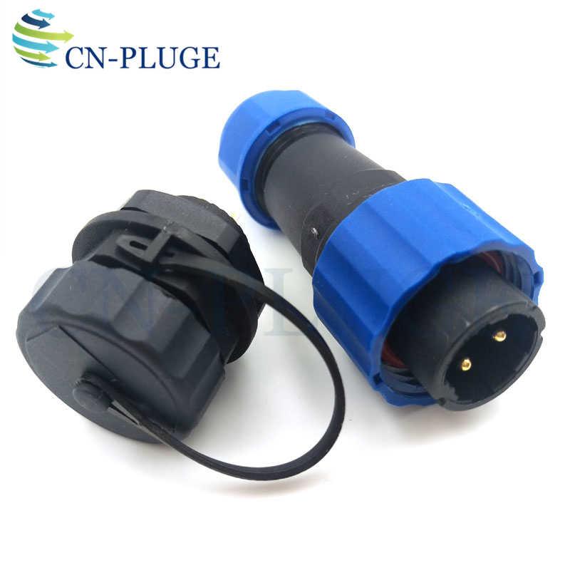 SP16 2-pin Conector Macho Plugue À Prova D' Água, Tomada Fio Automotivo LED Power Panel mount Conector Da Aviação IP68