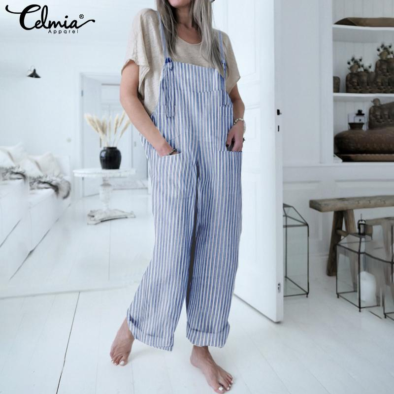 Vintage Bib Overalls Celmia Women Striped Jumpsuits 2019 Summer Strappy Rompers Casual Loose Wide Leg Pants Plus Size Pantalon