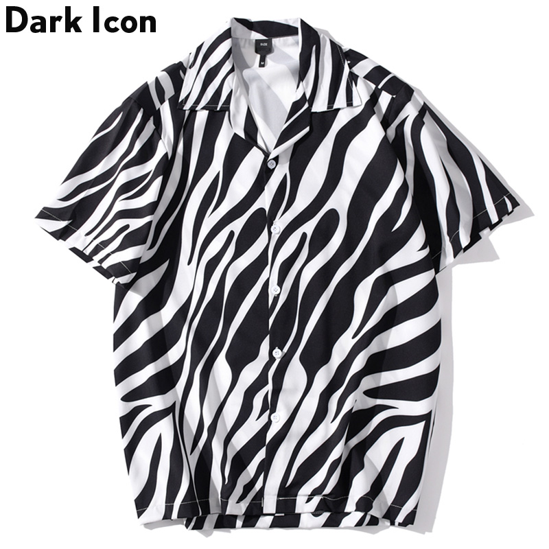 Dark Icon Zebra Print Street Fashion Shirt Men Turn-down Collar Vintage Style Men's Shirts Short Sleeved