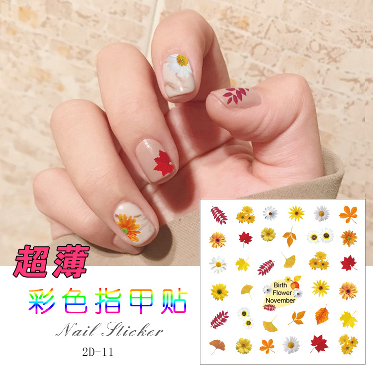 Joyme Color Ultra-Thin Nail Decals 2D Month Nail Sticker DIY Nail Ornament