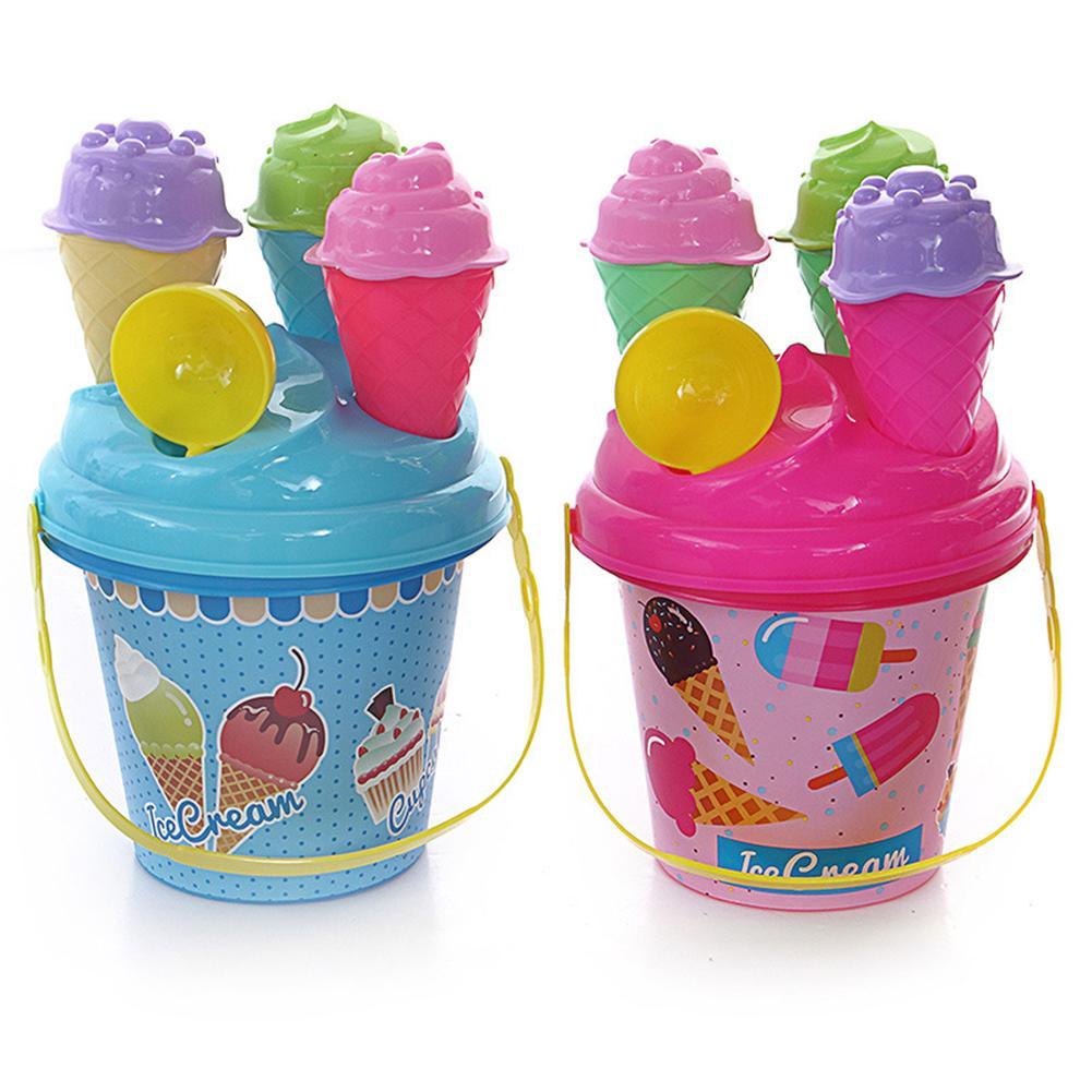 8Pcs Children Outdoor Beach Ice Cream Bucket Ladle Model Play Sand Sandpit Toy