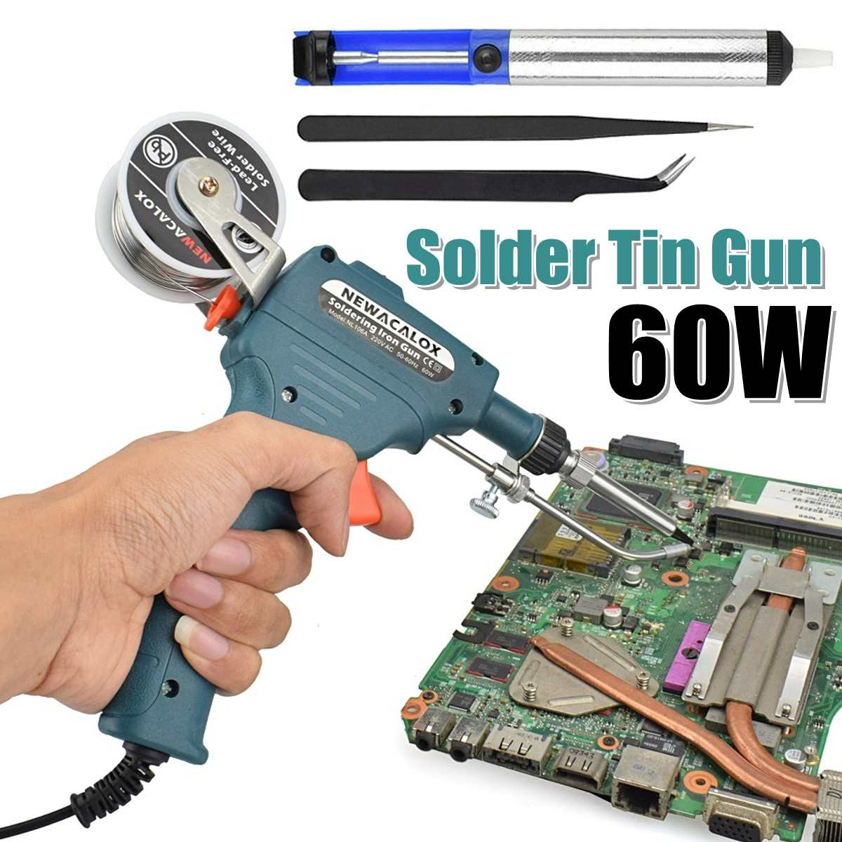 220V 60W Electric Soldering Iron Kit Internal Heating G-un Handheld Automatically Send Tin Welding Station Repair Tool