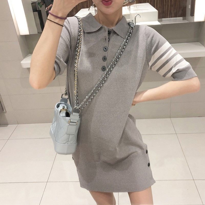 Short Sleeve Dress Casual Straight Tube Simple Small Fresh Flesh Skinny Sweater POLO Neck Knitted Dress