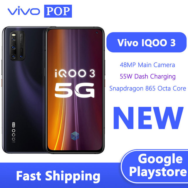 VIVO iQOO 3 5G téléphone de jeu 6.44 pouces 12GB 128GB Snapdragon 865 Octa Core à lécran 55W tableau de bord Charge Google Play NFC téléphone portable