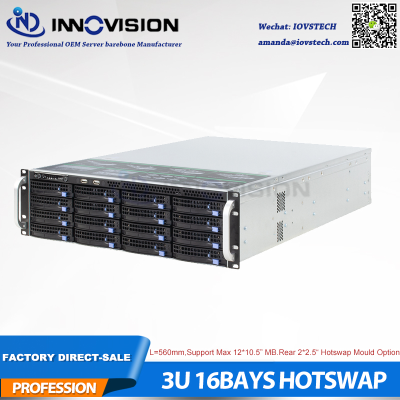 Stable Huge Storage 16 Bays 3u Hot Swap Rack Case NVR NAS Server Chassis L=560mm,support Max 12*10.5