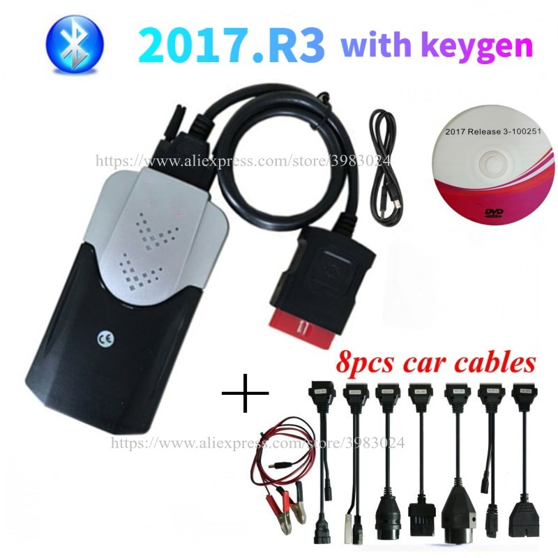 2021 OBD Obd2 сканер 3 In1 для Delphis vd ds150e cdp vdIJk автокомс pro, включающим в себя гарнитуру блютус и флеш-накопитель USB 2017.r3 Keygen автомобильный диагностиче...