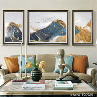 cotton no frame classical 3pcs gold wire mountain scenery canvas printings oil painting printed on cotton decoration picture