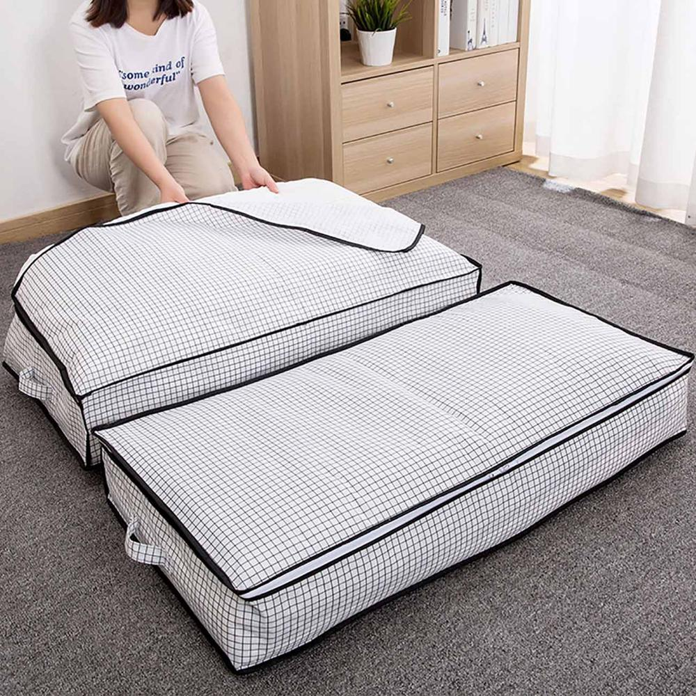 Large Under Bed Quilt Storage Bag Household Moisture Proof Clothes Storage Bag Folding Closet Organizer For Pillow Quilt Blank