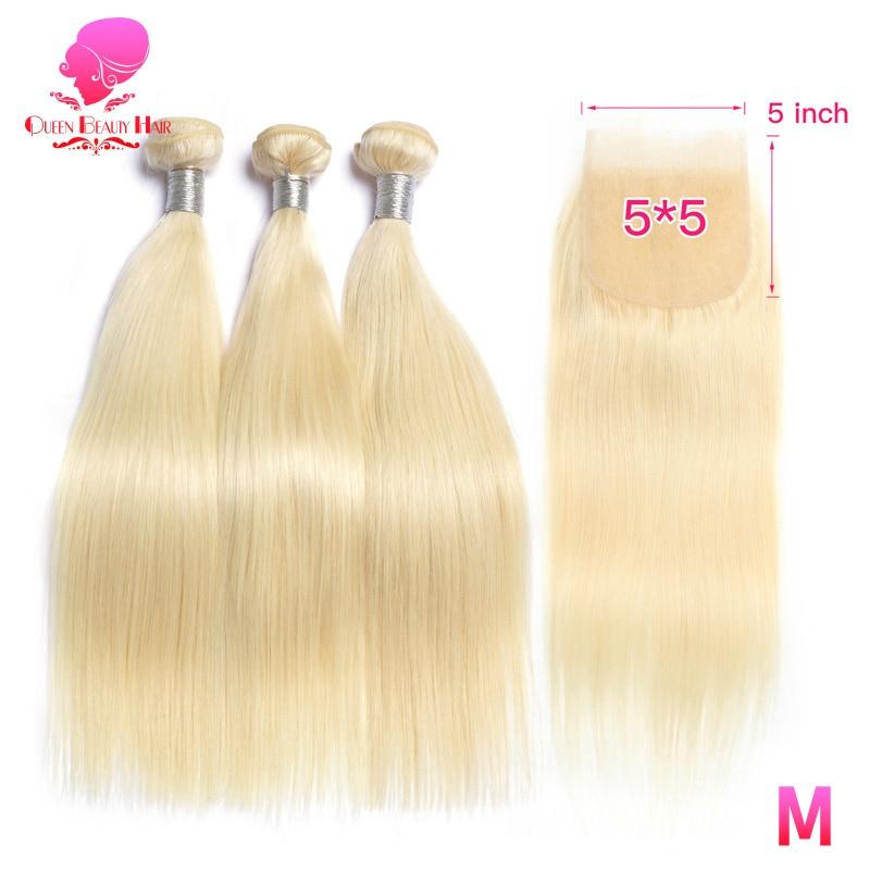Królowa blond 613 miód kolor 8 40 Cal Remy ludzki włos wyplata 2 3 4 brazylijski pasma prostych włosów z zamknięciem 5x5 szwajcarska koronka w 3/4 pasma z siateczką od Przedłużanie włosów i peruki na AliExpress - 11.11_Double 11Singles' Day 1