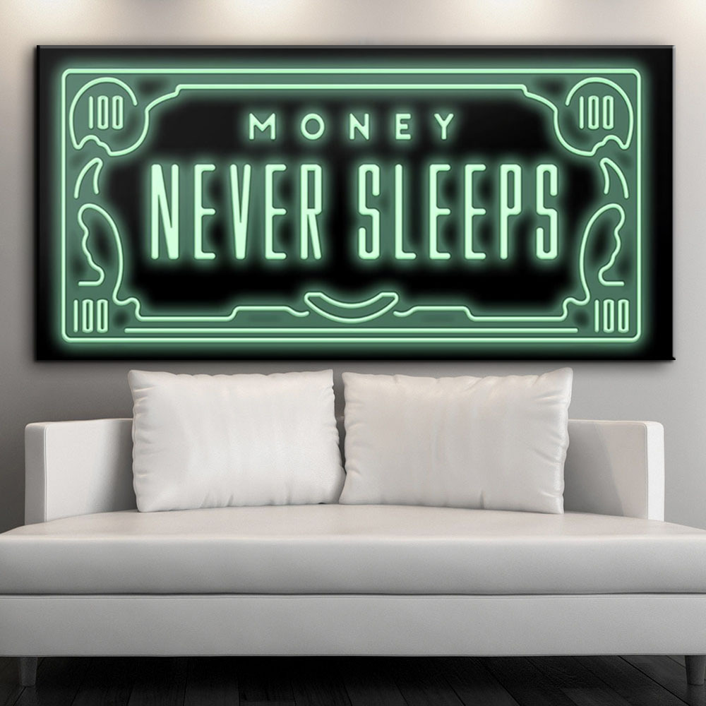 """Office Hanging Painting Text """"Money Never Sleeps"""" Inspirational Decorative Painting Wall Art Canvas Poster Kitchen Pictures"""