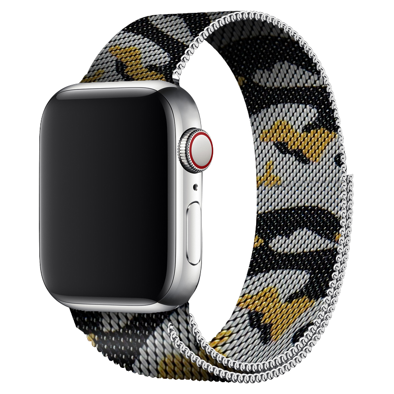 Yellow Camouflage Milanese Loop Band Sport For Iwatch Series 4 40mm 44mm Wristband Metal Strap For Apple Watch Series 2 42mm 38