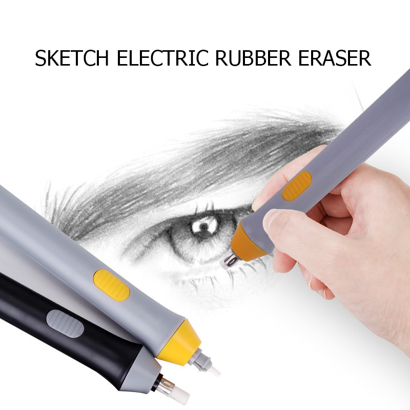 Black/Gray Electric Eraser With Refill Cute Electronic Pencil Rubber For Kids Painting Drawing Stationery Office School Supplies