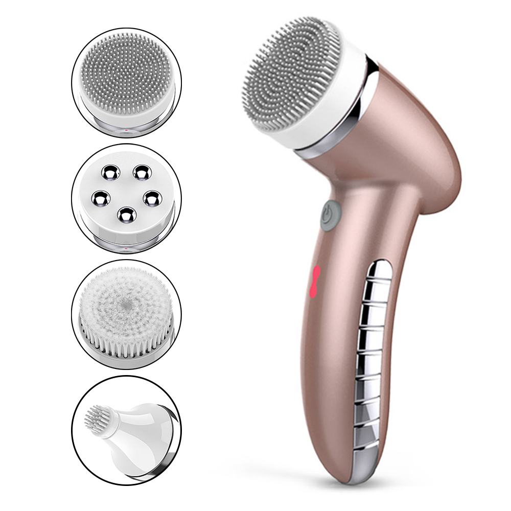 4 In 1 Facial Cleansing Brush Sonic Vibration Mini Face Cleaner Waterproof Deep Pore Cleaning Machine Electric Face Massage