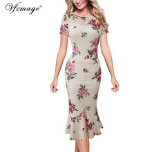 Vfemage Womens 우아한 빈티지 가 핀 업 착용 To Work Office Business Casual 칵테일 자 Fitted Bodycon 인 어 Dress 1053(China)